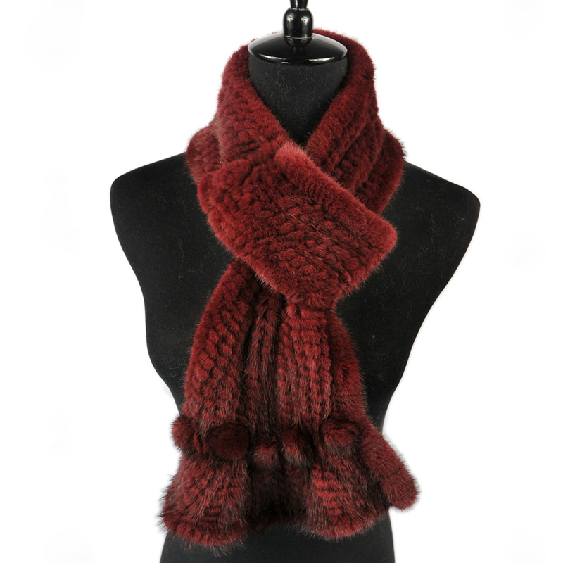 Mink Fur Scarf Women Wholesale 2016 New Deign Knitted Natural Demark Mink Fur Scarves Black and Brown color scarf available