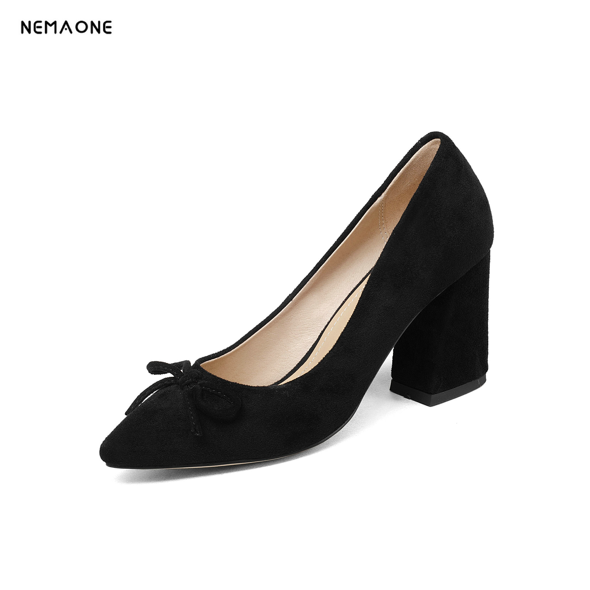 NEMAONE microfiber women pumps fashion high heels pointed toe shoes woman dress party office ladies shoes pumps size