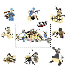 1 Set Of World War 2 Military Gun Warrior Assault Car Action Toy Model Learning Building Blocks Children Gifts(China)