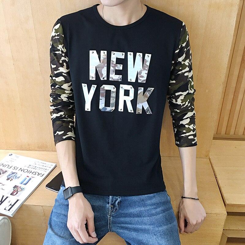 긴팔 티셔츠 남자 패션 한국어 슬림 위장 티셔츠 인쇄 스티치 둥근 목 셔츠 티셔츠 탑스