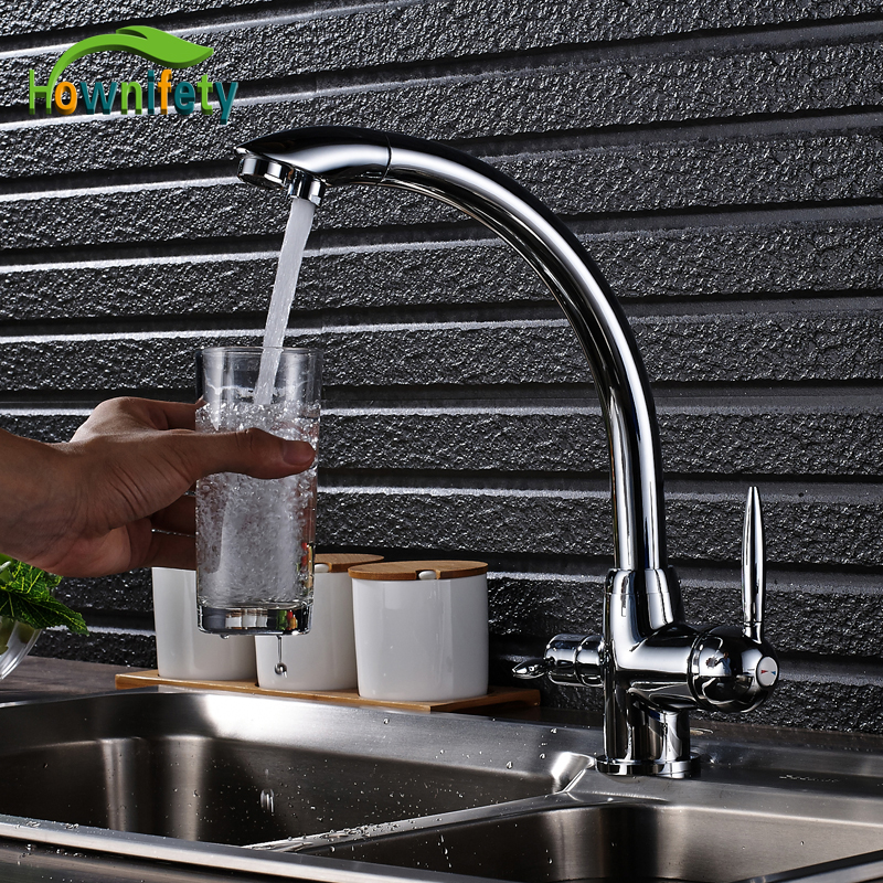 все цены на Chrome Polished Kitchen Faucet Pure Water Faucet Hot and Cold Water Purification Mixer Tap Deck Mounted
