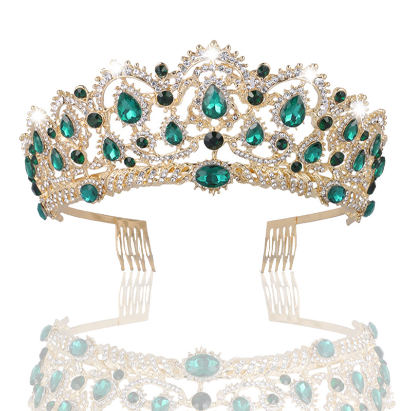 European Tear Drop Green Red Blue Crystal Tiara Vintage Gold Rhinestone Pageant Crown With Comb Baroque Wedding Hair Accessories