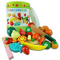Children Play Toy Baby Bottled Fruit And Vegetable Slice And See Magnetic Wooden Music As Simulation Of Fruits And Vegetables
