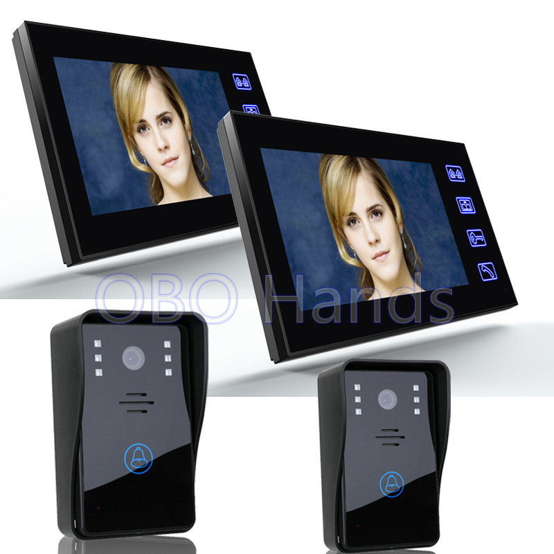 7 Color Video font b door b font phone Intercom System 2 Monitor And 2 Touch