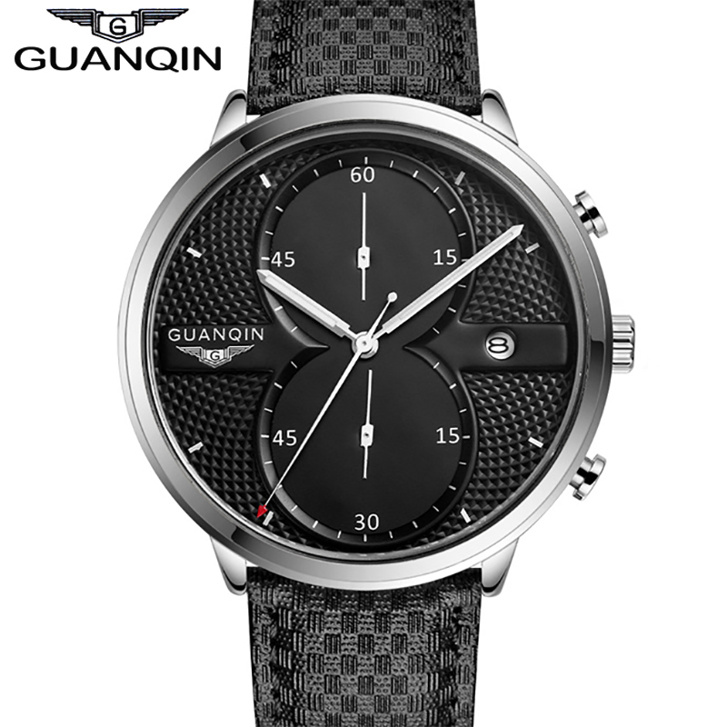 ФОТО Watch Men Sport Leather Watchbands GUANQIN Brand Shockproof Waterproof Big Dial Quartz-watch Relogio Masculino 2016 Promotion