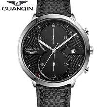 Montre Hommes Sport En Cuir Bracelets GUANQIN Marque Antichoc Étanche Grand Cadran Quartz-montre Relogio Masculino 2016 Promotion