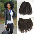 7 unids 100% Vietnamita cabello Humano Afro Rizado Rizado clip en extensiones de cabello 120g rizado clip en el pelo extensión