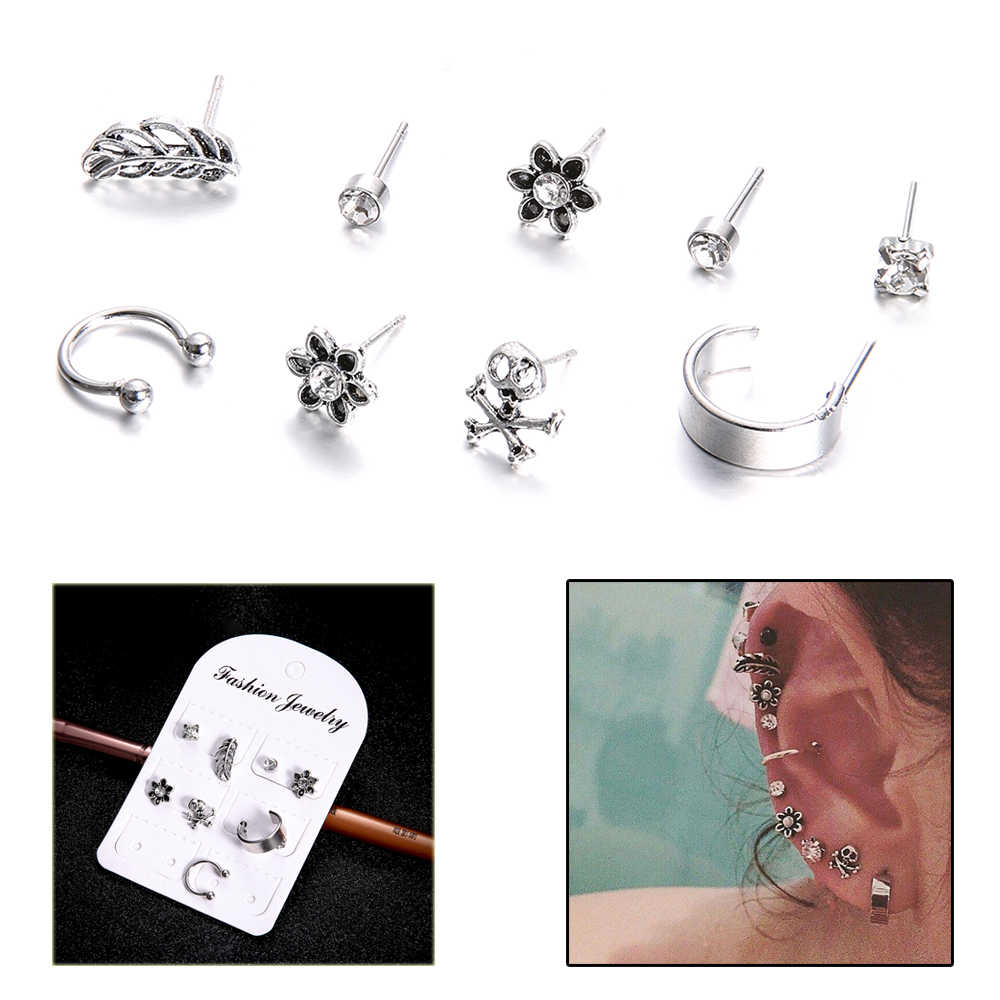 9 PCS/Set 2018 Boho Crystal Flower Studs Earrings Sets Antique Silver Feather Skull Retro For Women Heart Star Brincos Jewelry