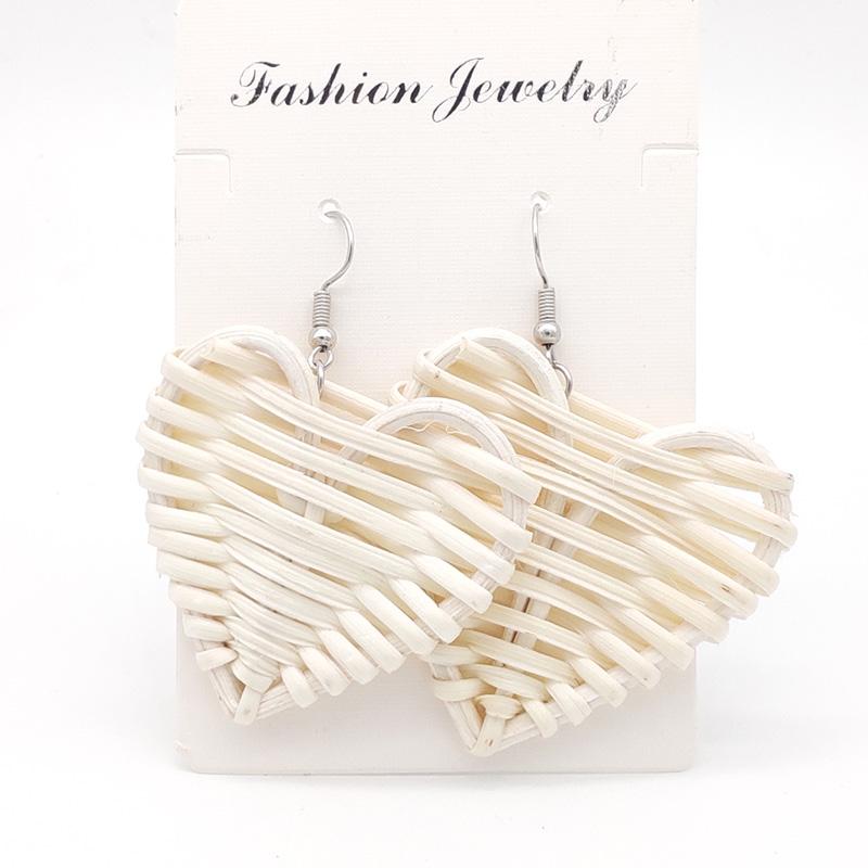 Bohemian Wicker Rattan Knit Pendant Earrings Handmade Wood Vine Weave Geometry Round Statement Long Earrings for Women Jewelry 24