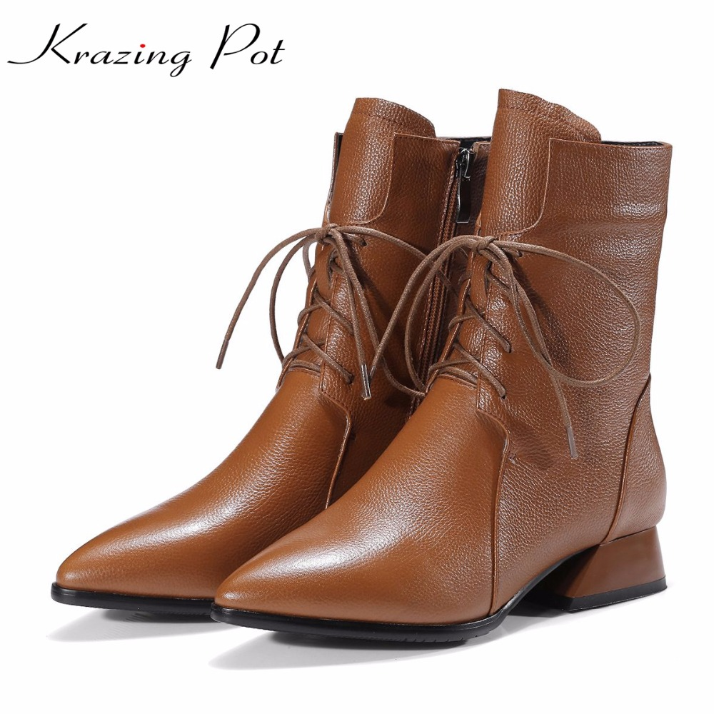 Krazing pot new winter brand shoes lace up boots pointed toe thick med heels genuine leather runway mature style ankle boots L51 front lace up casual ankle boots autumn vintage brown new booties flat genuine leather suede shoes round toe fall female fashion