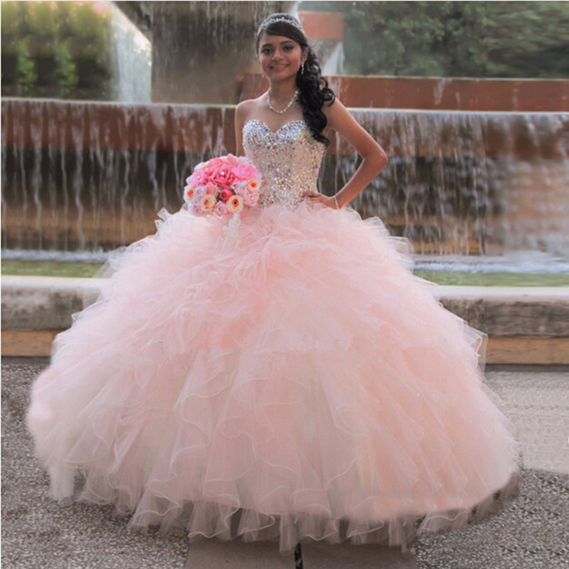 Fashion Sweet 16 Dresses Formal Long Pageant Masquerade Ball Gown  Sweetheart Tulle Light Pink Quinceanera Dresses ca93e8f78268