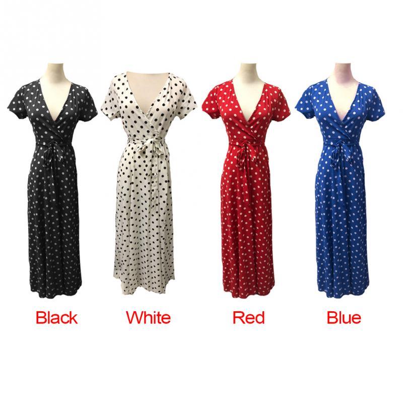 Beach Summer Ladies Long Dress Red White Dot V-neck Women Evening Party Sundress Vestidos de festa Dresses