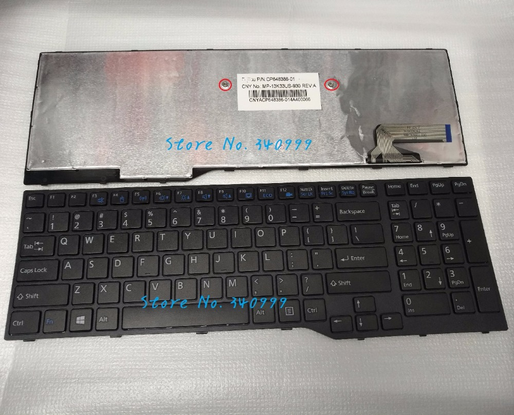 New US keyboard for Fujitsu LifeBook Lifebook AH544 with black frame