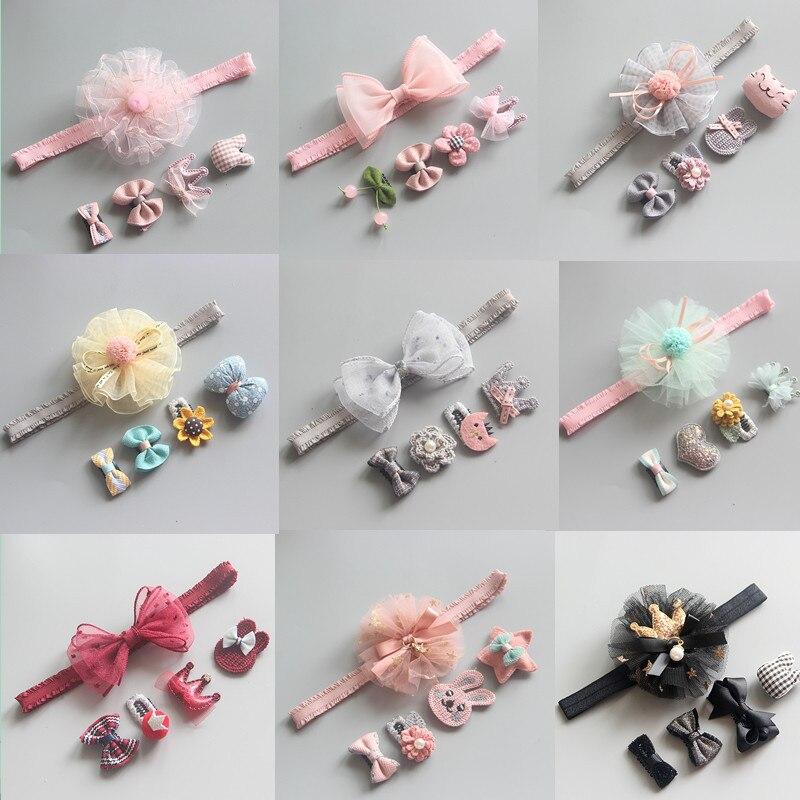 New Arrival 5pcs Baby Girls Cute Headwears Kids Bowknot Flower Hairpins Sets Headbands Headdress Newborn Hair Accessories Gift