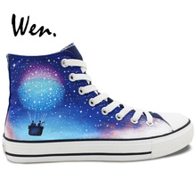 Wen Hand Painted Skateboarding Shoes Design Custom Colorful Galaxy Fire Balloon High Top Canvas Sneakers Mens Womens Gifts