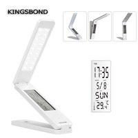 Pode ser escurecido Pendurado Lâmpadas LED Dobrável Recarregável Reading Table Lamp Light Touch Control Alarme Calendário Temperatura Relógio Da Lâmpada