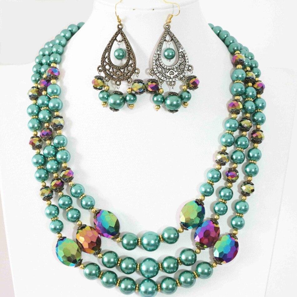Malaquita verde brincos colar 3 linhas rodada shell simulado-pérola  quadrado cristal casamentos presentes jóias fazendo 18-21.5 B999 1bdf0d6c1e