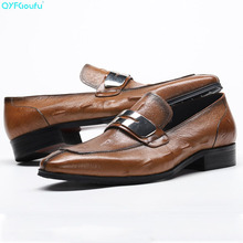 Italian Spring Autumn Men Formal Wedding Shoes Genuine Cow Leather Crocodile Pattern Designer Man Loafer Dress Shoe