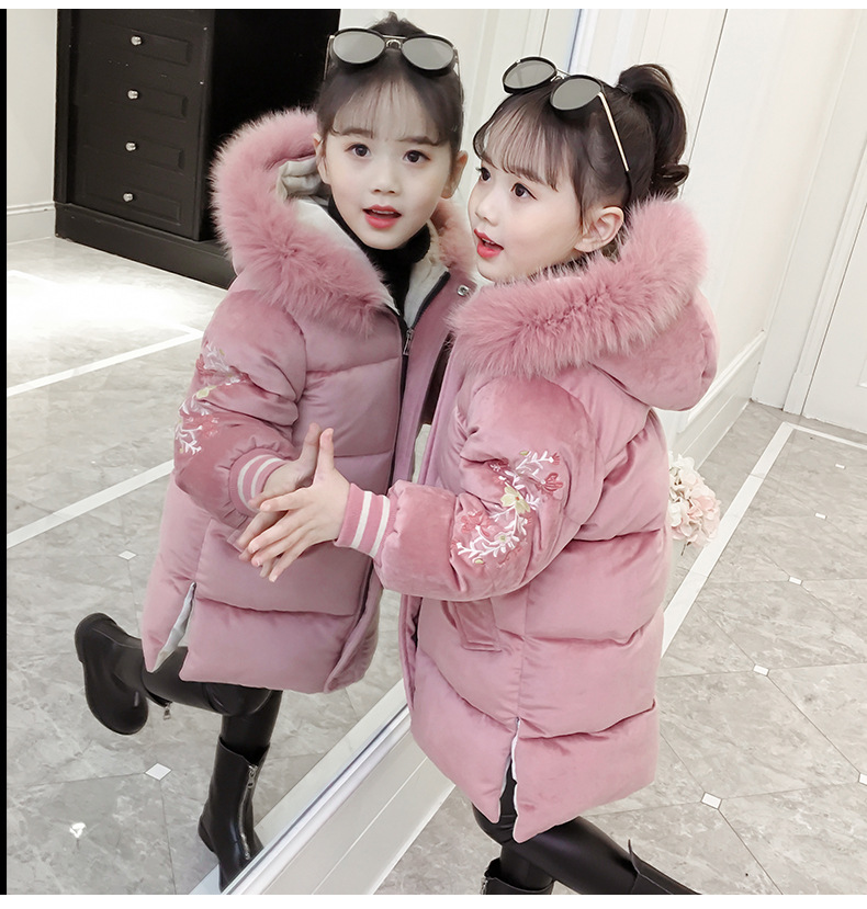 Jacket Embroidered Outwear Warm-Coat Velvet Zipper Girl's Kids Children's New Long Gold