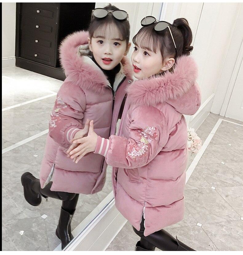 Nouveaux enfants à capuche manteau chaud fille veste longue enfants coton laine outwear fille brodé fermeture à glissière or velours veste 18N1126