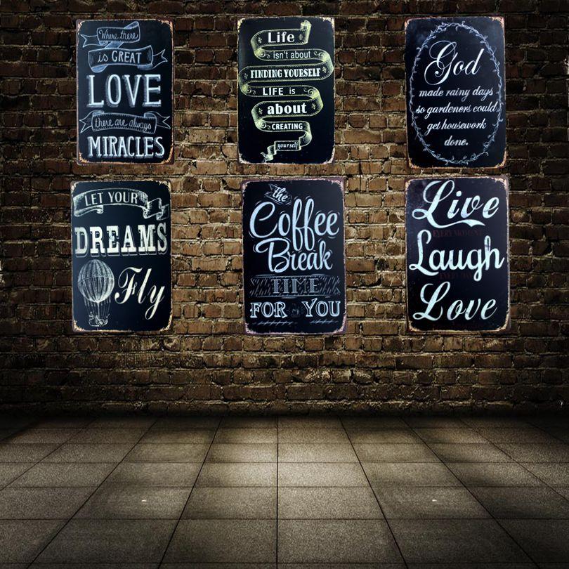 Пусть ваши мечты летать Олово Признаки Металл роспись стены кафе дома Паб Ресторан Книги ...