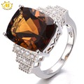 HUTANG 10.25ct Natural Smoky Quartz Solid 925 Sterling Silver Cocktail Ring Gemstone Fine Jewelry Women's