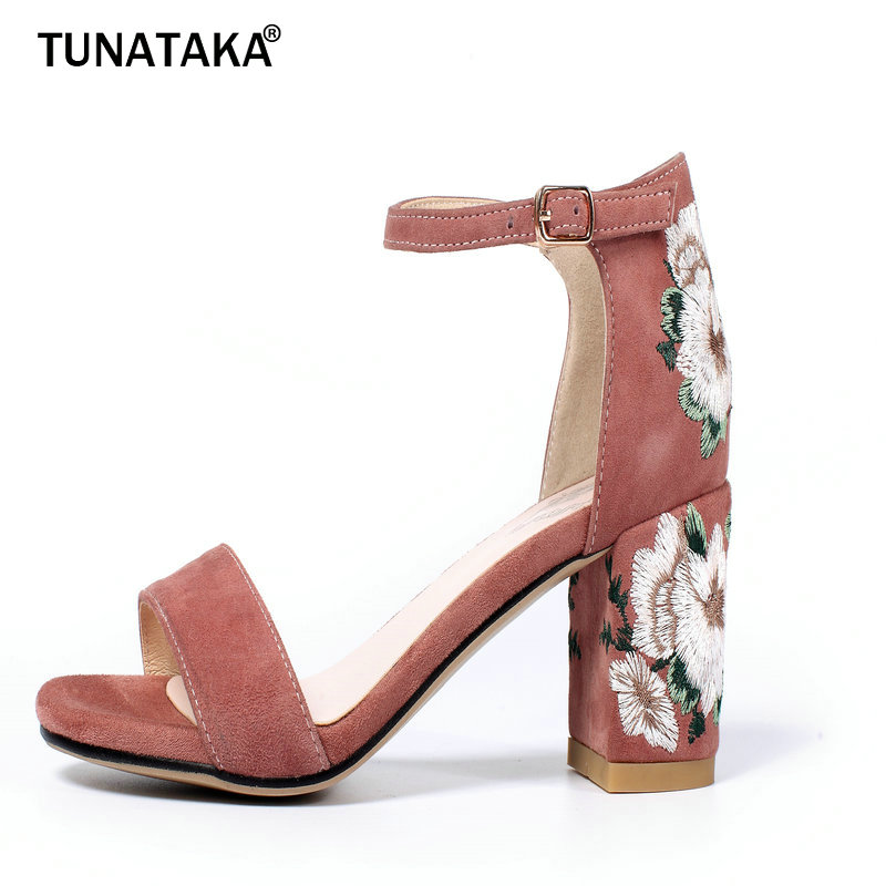 woman's Sheep suede lace-up High-heeled Sandals Ethnic rear Embroidery Party Square heel Sandals Black Gray Army Green Lotus
