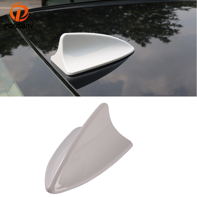 FM/AM Connection Base Radio Signal Universal Car Mounted Decoration Transser Antenna Shark Fin Roof Aerial Gray