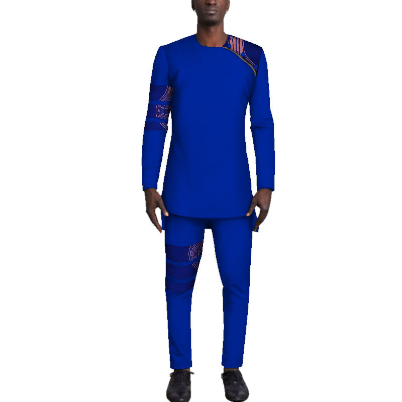 Casual-Mens-African-Clothing-Bazin-Riche-Patchwork-Top-Shirt-and-Pants-for-Men-Custom-100-Cotton(1)