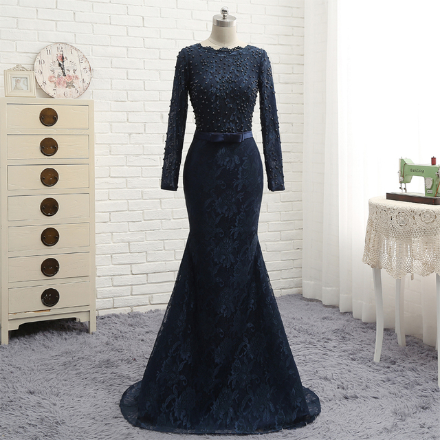Navy Blue Lace Evening Dress O Neck Mermaid Long Sleeve Special ...