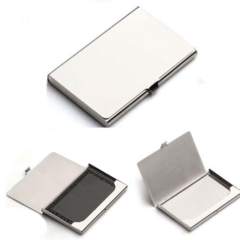10//20 PCS Business Credit ID Card Holder Box Metal Aluminum Pocket Case Silver