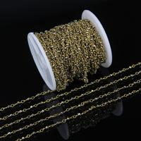 ロザリオチェーンゴールド2 × 3ミリメートル小さなサイズヘマタイト多面的なビーズゴールドブロンズシルバーまたは真鍮メッキチェーンネックレスjewlery