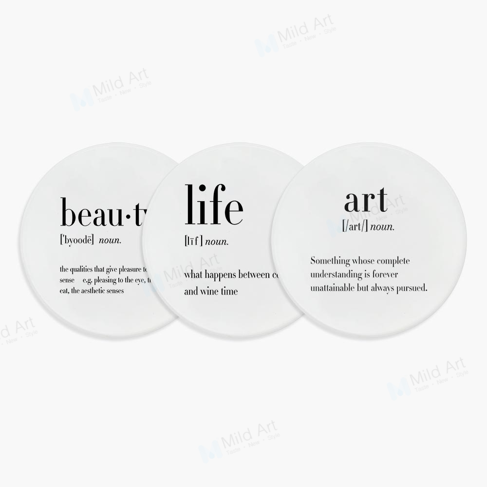 Nordic black and white humor art life quote minimalist beauty ceramic bar coaster christmas gift kitchen accessories pad mat set