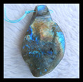 Natural Stone Blue Labradorite Necklace Pendant,59*35*11mm,32.8g natural stone pendant labradorite necklace bead