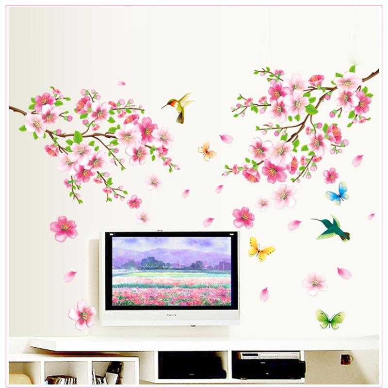 Elegant Flower Wall Stickers Home Decor Living Room Graceful Peach Blossom Birds Wall Decals Furnishings Romantic Mural Art