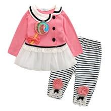 Baby Girl Clothes Suits 2017Autumn Fashion Newborn Kids Girls Jacket Coat Striped Pants 2pcs Clothing Sets