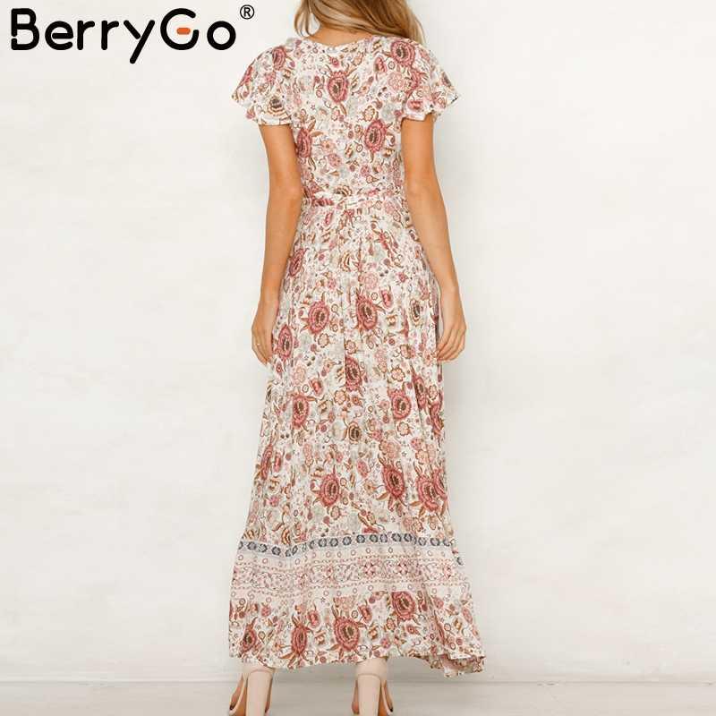 b7394bfa1e ... BerryGo Vintage floral print summer dress Ruffle sleeve sash sexy long  dress Bohemian women dress holiday