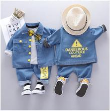 2019 Autumn Toddler  Boys Clothes Sets Baby Infant Clothing Suits Denim Coats T Shirt Pant Children Kids Christmas Outfit цена