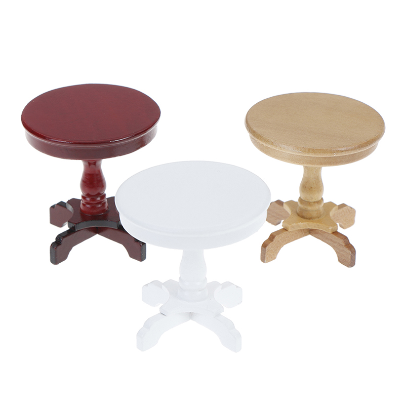 1PCS Garden/Room Decoration 1/12 Dollhouse Wooden Furniture Miniature Round Coffee Table Desk Miniatures Pretend Toys