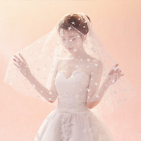Fishday Bridal Wedding Veil In Stock Girls Short Stars Cheap Real White One layer Accessories Woman Femme Without Clip B30