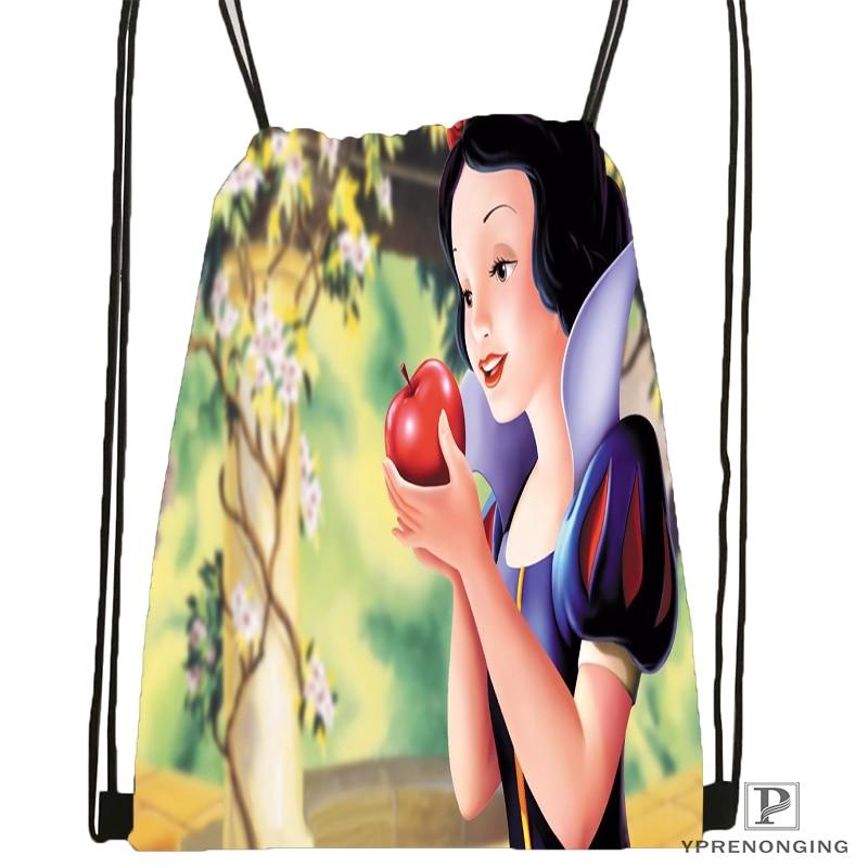 Custom Snow White Drawstring Backpack Bag Cute Daypack Kids Satchel Black Back 31x40cm 180531 03 68