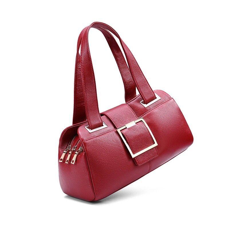 Femme sacs à main Designer sac en cuir véritable mode Boston sacs à bandoulière femme sac à main bleu/rouge fourre tout vache haut en cuir poignée sacs-in Sacs à bandoulière from Baggages et sacs    3