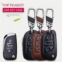 Genuine Leather Men Car Key Cover For Peugeot 301 206 207 407 2008 3008 2017 407 508 106 107 Rcz Key Ring Case Auto Accessories