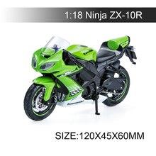 Maisto 1:18 modelos de motocicleta kawasaki ninja zx10r diecast plástico moto miniatura brinquedo corrida para presente coleção