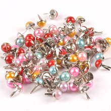 20PCs mixed Pearl Brad Scrapbooking Embellishment Fastener Brads Metal Crafts For Diy handmade shoes Decoration 9x15mm cp2237