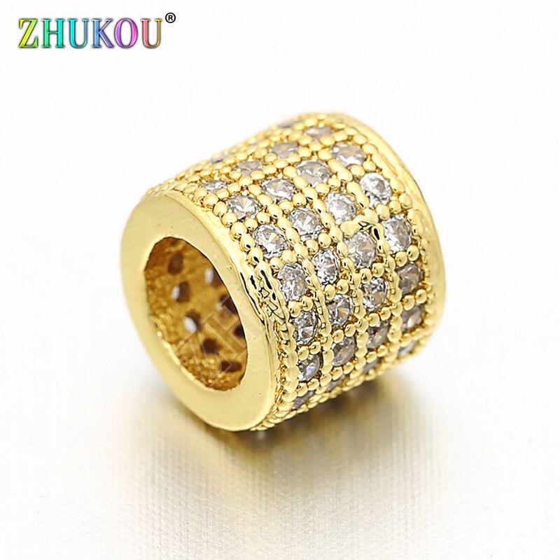 Perles despacement en laiton et zircone cubique, 7mm, bijoux à bricoler soi-même accessoires, trou 4mm, modèle VZ62