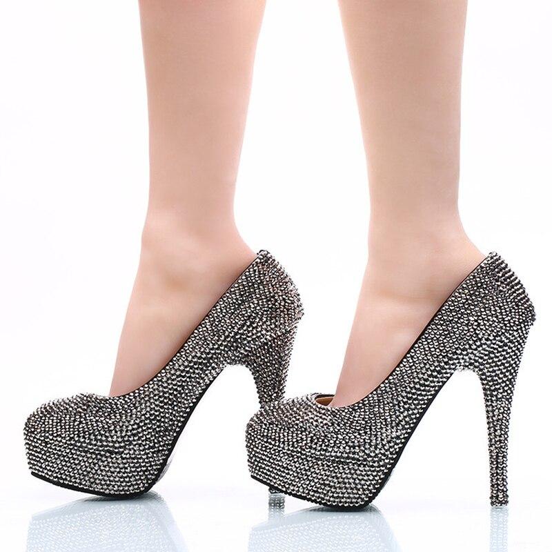 Noir Femmes Haute Bout Heels black Mode Parti Cristal 11cm 2018 5cm Discothèque Mousseux 8cm Talons Heels Rond Black Grande Bal Chaussures Taille Mine Mariage De Pompes 14cm qtABE