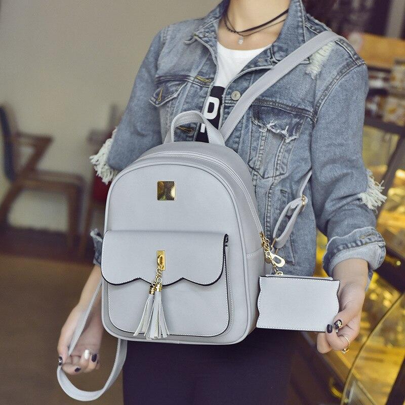 4fd40b6e8e Tassel Women Leather Backpack Teenage Backpacks For Girls Preppy Bagpack  Cute Grey Women s Backpack student bag