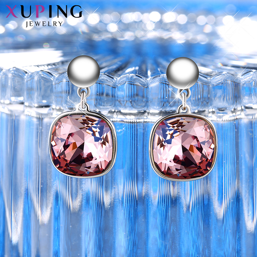 HTB1ayB5XyYrK1Rjy0Fdq6ACvVXaO - Xuping Square Earrings Crystals from Swarovski Luxury Vintage Style Jewellery Women Girl  Valentine's Day Gifts M94-20493