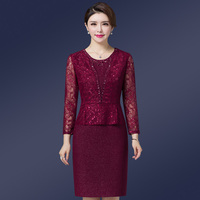 High Quality Free Shipping Autumn Winter Wedding Mom Dress Slim Fashion Mid Old Age Women Clothing Plus Size